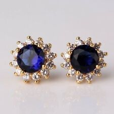 Women Round Cut Blue Topaz Gemstone Hook Yollow Gold Filled Party Stud Earrings