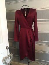 Asos Burgundy Satin Wrap Dress Midi Size 4 (7) £38