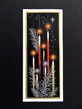 Vintage Glitter Sample Xmas Greeting Card Stunning Lit Candles & Silver Branches