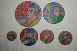 6 New Vintage Japanese Samurais Warriors Round Menko Game Cards Different Size
