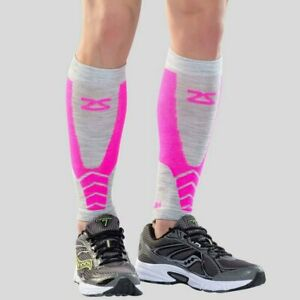 Womens Zensah Wool Compression Running Leg Calf Sleeves Neon Pink