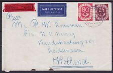 Bund Mi Nr. 131, 137 MIF Lupo Eilboten Brief Garmisch - Leidsendam Holland 1954
