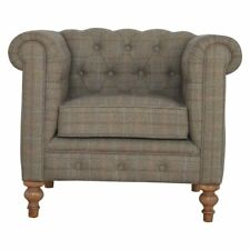 Chesterfield Club Chair Multi Tweed Fabric Delivery