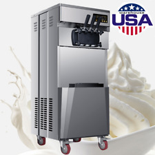 Fda 20L/H Stand Commercial 3 Flavors Ice Cream Machine Automatic 1850W Us Stock
