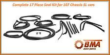 W107 COMPLETE SEAL KIT - DOOR/TOP/TRUNK/PILLARS- 380SL 450SL 560SL - 17 PIECES