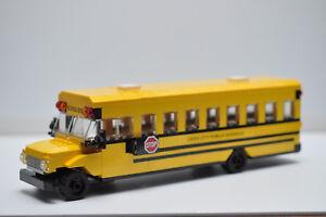 School Bus City Town Yellow American Custom Model Built With LEGO 16 passengers