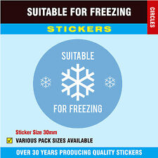 Blue - 'Suitable For Freezing' Stickers / Labels - 30mm Circles