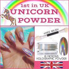 15 μm Holographic Powder Unicorn 0.5g/pot Rainbow Chrome Nail Pigment Nails UK