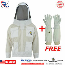 White Beekeeping 3 Layer Ultra Ventilated beekeeper jacket Astronaut Veil@L-V04