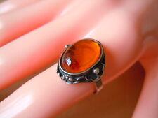 Kleine Größe! Antiker 925 Silber Ring mit Honig Bernstein 3,2 g / RG 50 Amber
