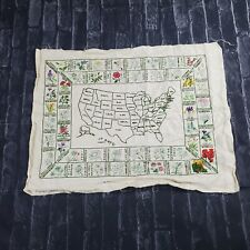 Vintage Paragon USA State Flower Map Completed  Embroidered