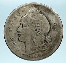 1897 DOMINICAN REPUBLIC Woman of Liberty Antique Genuine Silver Peso Coin i83496