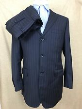 Brooks Brothers 1818 Regent Navy Blue Striped 2 Piece Suit 3 Btn Italy 40R 33x30