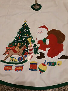 "Vtg Retro Kurt Adler Santa Christmas Tree Santa Toys Skirt 43"" Green Ivory USA"