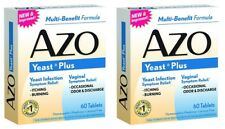 2 Pack AZO Yeast Prevention 60 Tablets Ea, Homeopathic Yeast Infection Treatment