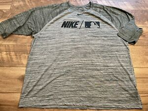 NIKE driFIT Athletic Cut Gray Black MLB Logo Training s/s Shirt Top mens 3XL