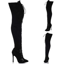 Women's High Heel (3-4.5 in.) Lace Up Over Knee Boots Shoes