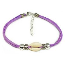 """Anklet Cowrie Shell Silver Beads Purple Suede 25cm (9.8"""") Australian Made Surf"""