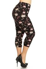 New Color B Plus Size Sexy Capri Multi Floral Print Leggings Curvy 1XL-3XL R624