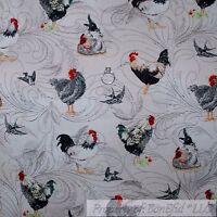 BonEful Fabric FQ Cotton Quilt VTG White Back Red Chicken Bird Farm Swirl Scenic
