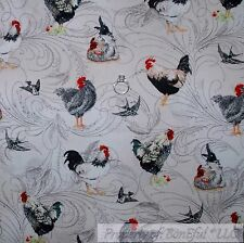 BonEful Fabric FQ Cotton Quilt VTG White Back Red Chicken Bird Farm Swirl Scenic