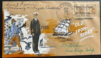 1933 Us Frigate Constitution USA Brehm Hand Made Cachet Cover Gulliver Signed