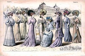 Edwardian Ladies dress and hat fashion art print A4 Size wall decor hangings