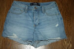 "Hollister High Rise Mom Short 3"" size 26 Vintage stretch jean shorts button fly"
