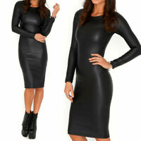 Womens Ladies Long Sleeved Wet Look Midi Party Bodycon Long Dress 8-26