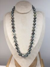 natural Tahitian Baroque sea pearl Multi color 14kYellow Gold clasp necklace