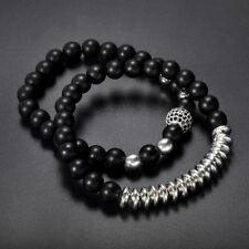 2Pcs Mens Matte Black Onyx Yoga Energy Beaded Bracelet Boyfriend for Him Jewelry