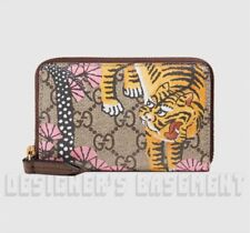 GUCCI pink BENGAL TIGER GG Supreme Canvas & Leather POUCH Mini wallet NIB Authen
