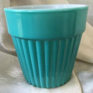 "Vintage Hazel Atlas Glass 4 5/8"" Flower Pot Turquoise Blue Fired-On White"