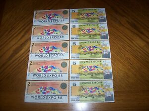Lot of 10 Notes from Australia World Expo 88 $2 and $5 Uncirculated