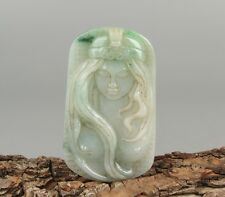 Chinese Exquisite Hand carved beauty Carving jadeite jade Pendant