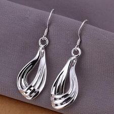 Hollow Teardrop Hook Earrings Jewelry #n New Women 925 Sterling Silver Plated