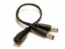 "12V 9V DC Power Y Splitter Cable Female DC to 2 Male Jack DC Plug 8"" for CCTV"