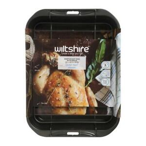 NEW WILTSHIRE NON STICK DEEP ROAST PAN WITH RACK 32 x 25cm Chicken Roasting Tray