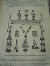 Ornements et Bijoux Khiviens Gravure Old Print 1877