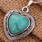 Tibetan Silver Turquoise flower Heart Pendant long Chain Necklace Women Jewelry