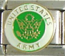 1 US Army Symbol 9MM Stainless Steel Italian Charm Brand New!