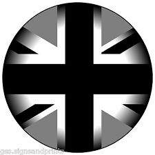 2x50mm BLACK GREY UNION JACK STICKER