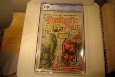 """Fantastic Four #12 """"1st. Meeting F.F. Vs. Hulk""""1963 *Key Issue* CGC 7.0 New Slab"""