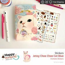 Jetoy Choo Choo Cat Blue Stickers Handcraft Seasons And Holidays Crafts 8 sheets