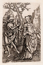 """Powerful 1800s LUCAS VAN LEYDEN Engraving """"Death and the Lady"""" Framed SIGNED COA"""