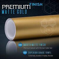 "*24/""x60/"" Matte Flat Gold Car Vinyl Wrap Sticker Decal Air Release Bubble Free"