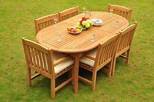 "Devon A-Grade Teak 7Pc Dining 117"" Oval Table Arm Chair Outdoor Patio Set"