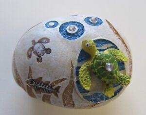 Turtle Stone Jewelry Box-Trinket Box- Turtle- fish browns blue green- oval