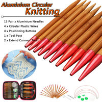 13 Sizes Interchangeable Bamboo Circular Knitting Needle Kit 2.75mm-10mm Tool