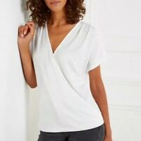 White Company Drape Front T-Shirt Size 10UK RRP £45.00 Box E114